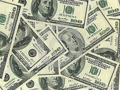 Fondo de cientos cuentas de dólar