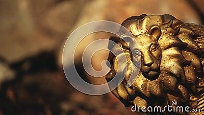 Fondo de la piedra de la estatua del león del oro nadie cantidad del hd almacen de video