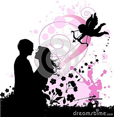 Fondo de la tarjeta del día de San Valentín con el cupid y pares en lo