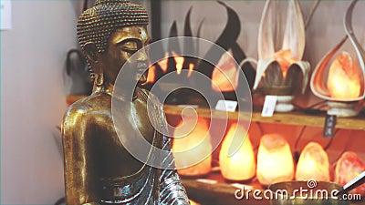 Fondo de meditación mística de la estatua de Buda almacen de video