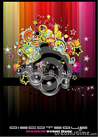 Fondo del acontecimiento del disco con los elementos coloridos