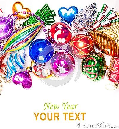 Fondo del Año Nuevo con las decoraciones coloridas