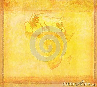 Fondo del Grunge con fauna africana y la flora