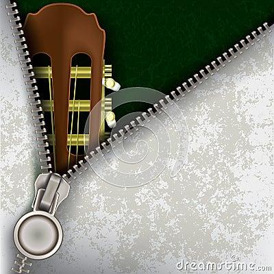 Fondo del jazz con la guitarra y la cremallera abierta