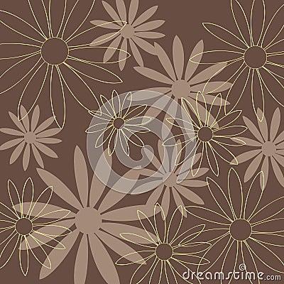 Fondo del marrón del modelo de flor
