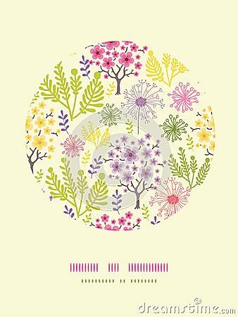 Fondo floreciente del modelo de la decoración del círculo de los árboles