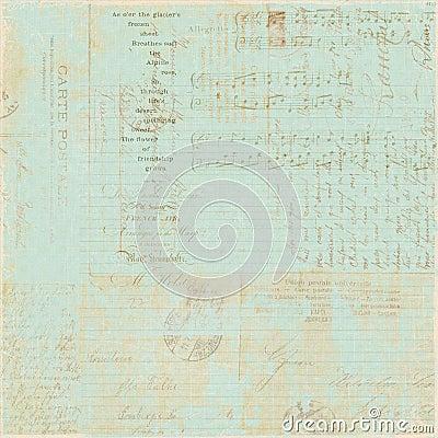 Fondo francés del collage de la escritura de la carta de la vendimia