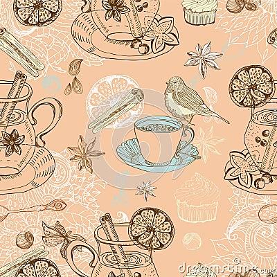 Fondo inconsútil del doodle con el vino caliente reflexionado sobre