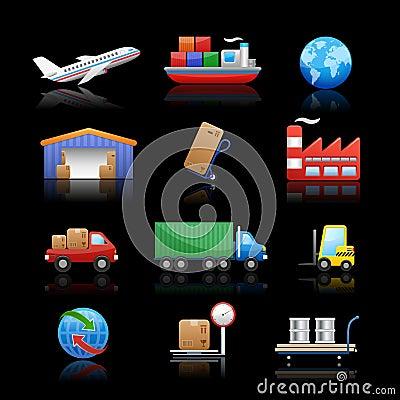 Fondo negro de // de los iconos de la industria y de la logística