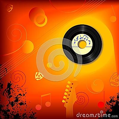 Fondo retro de la música de 45 revoluciones por minuto