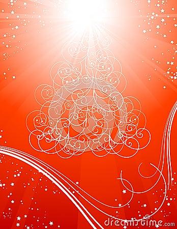 Fondo rojo del árbol de navidad con las estrellas