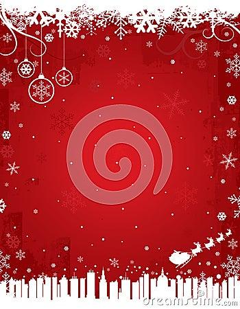 Fondo rojo del invierno