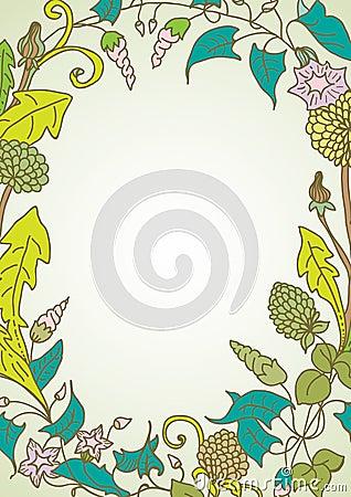 Fondo romántico con la guirnalda de la flor salvaje