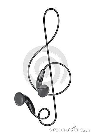 Fones de ouvido sob a forma do clef de triplo