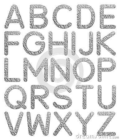 Font aluminum foil texture alphabet A to Z