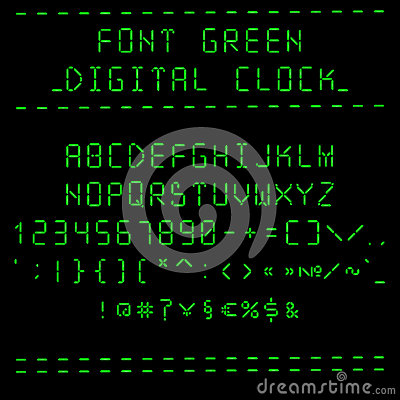Font Green Digital Clock Stock Vector Image 56479055