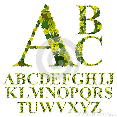 Free Font Made With Leaves, Floral Alphabet Letters Set, Vector Desig Stock Photo - 42223860