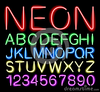 Free Font Neon Light Stock Photo - 42167330