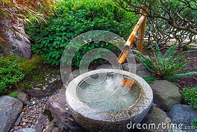 fontaine d 39 eau en bambou dans le jardin japonais image. Black Bedroom Furniture Sets. Home Design Ideas