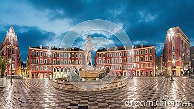 Fontaine du Soleil sul quadrato in Nizza, Francia di Massena del posto video d archivio