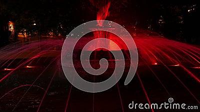 Fontana di Colouful davanti alla costruzione di presidenza a Sofia, Bulgaria alla notte video d archivio