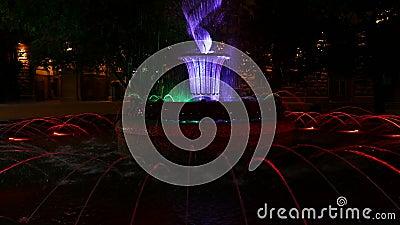 Fontana di Colouful davanti alla costruzione di presidenza a Sofia, Bulgaria alla notte archivi video