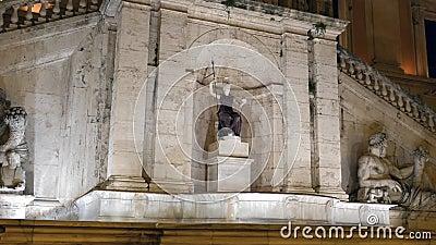 Fontanadella Dea Roma nacht Capitol Hill rome stock footage