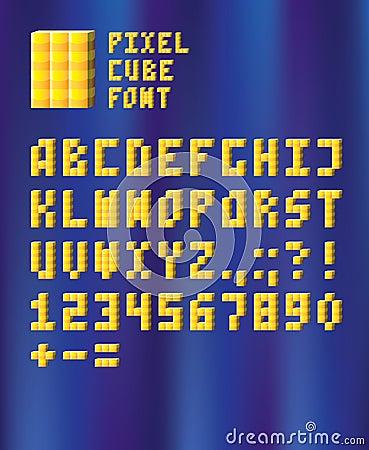 Fonte tipografica del cubo del pixel