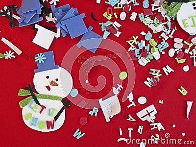 Fontes e material da arte do ofício do Natal das crianças