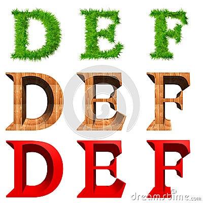 Fonti tipografiche di alta risoluzione 3D isolate