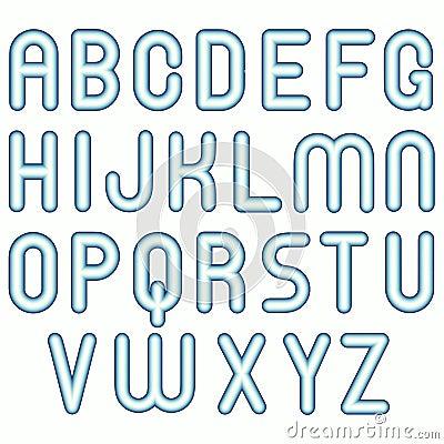 Fonti tipografiche divertenti della bolla del bambino freddo blu molle
