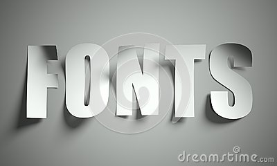 Fonts cut from paper on background