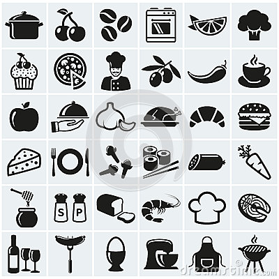 Free Food And Cooking Icons. Vector Set. Royalty Free Stock Photo - 52503415