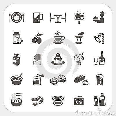Free Food And Dessert Icons Set Royalty Free Stock Image - 48055386