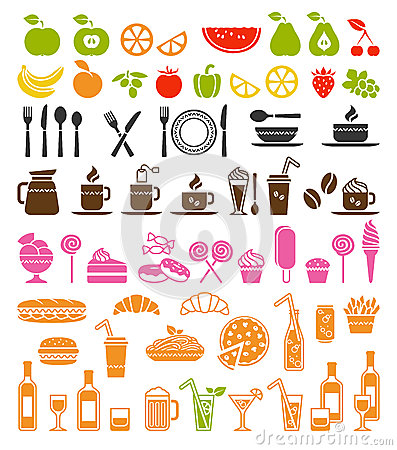 Free Food And Drink Icons Royalty Free Stock Photography - 39014927
