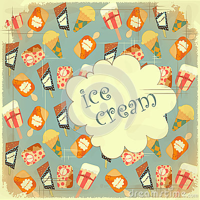 Food background - Ice Cream Vintage card