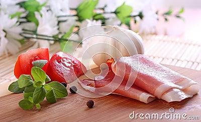 Food background wit italian prosciutto