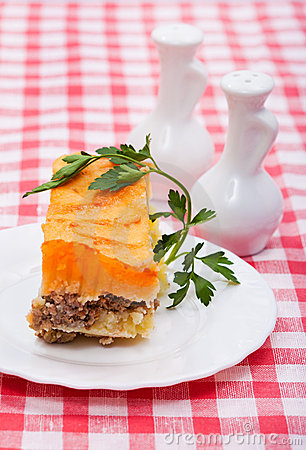 Food -  baked pudding of potatoes