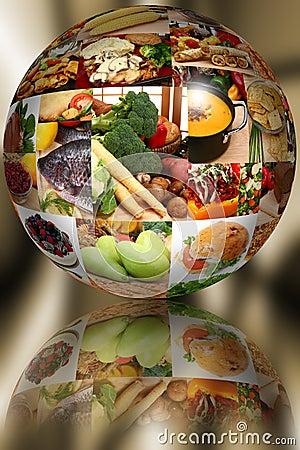 Food Ball over Abstract