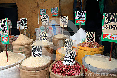 Food basics for sale in an African market Editorial Stock Image