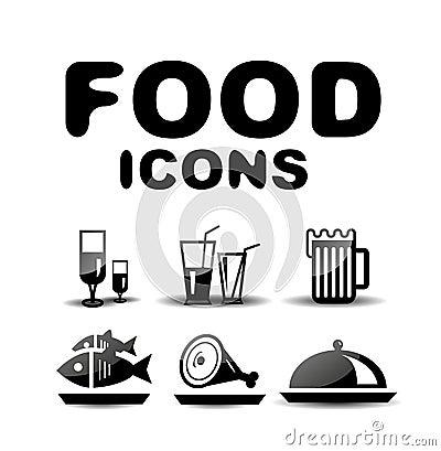 Food black glossy icon set