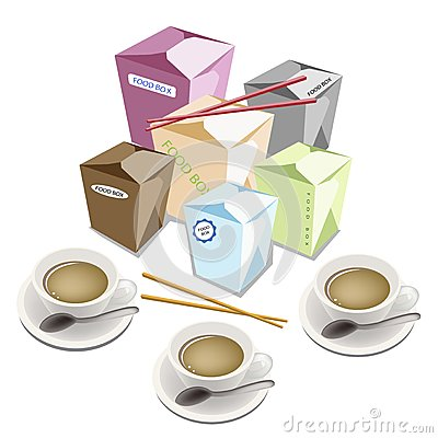 Free Food Boxs And Chopsticks On White Background Royalty Free Stock Images - 33056479
