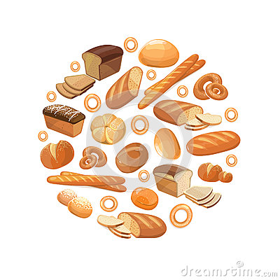Free Food Bread Rye Wheat Whole Grain Bagel Sliced French Baguette Croissant Vector Icons In Circle Stock Photography - 73843762