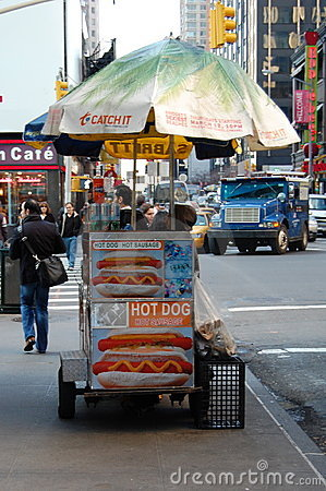 Food Cart on a New York City Street Editorial Photo