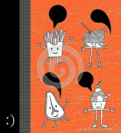Food cartoons with dialogue balloon