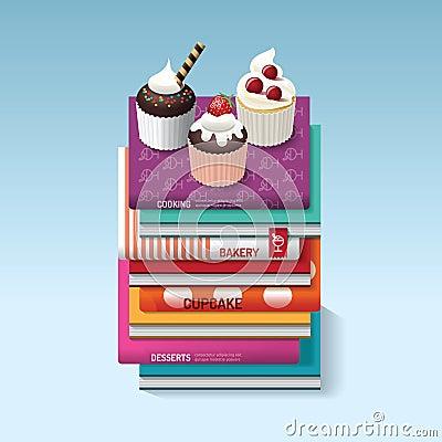 Free Food Cook Books Idea Cupcake Concept Design. Vector Illustration Stock Image - 53661411