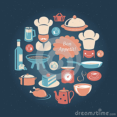 Food and cooking icons round set Vector Illustration
