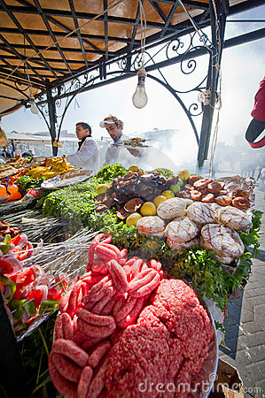 Food cooking stalls in marrakech Editorial Photo