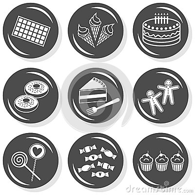 Food dessert sweets gray icon set