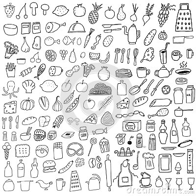 Free Food Doodles Royalty Free Stock Photo - 34116855